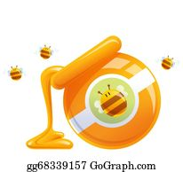 Bee-Hive - Cartoon Natural Orange Honey In Jar Dropping And Bees
