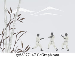 Karate - Three Men Are Engaged In Karate