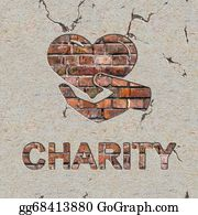 Fundraiser - Charity Concept On The Brick Wall.