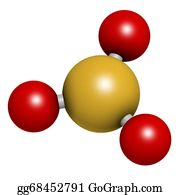 Color-Rain - Sulfur Trioxide Pollutant Molecule. Principal Agent In Acid Rain. Atoms Are Represented As Spheres With Conventional Color Coding: Sulfur (yellow), Oxygen (red).