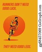 Good-Luck - Runner Running Marathon Poster