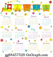 Funny-Toy-Train - 2015 Calendar With Toy Train And Flowers