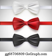 Bow-Tie - Realistic White, Black And Red Bow Tie