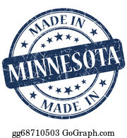 Minnesota - Made In Minnesota Blue Round Grunge Isolated Stamp