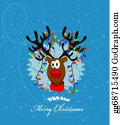 Reindeer-Christmas-Silhouettes -  Merry Christmas Card With Reindeer