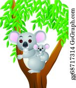 Cute-Animal-Cartoon-In-The-Jungle - Mother And Baby Koala