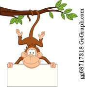 Cute-Animal-Cartoon-In-The-Jungle - Monkey Cartoon With Blank Sign