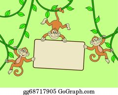 Cute-Animal-Cartoon-In-The-Jungle - Monkey With Blank Sign