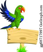 Cute-Animal-Cartoon-In-The-Jungle - Green Parrot With Blank Signboard