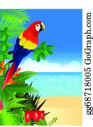 Bush-Of-Wild-Flowers - Macaw With Tropical Beach Backgroun