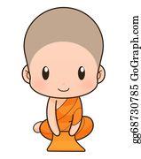 Buddhist - Buddhist Monk Cartoon, Illustration