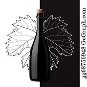 Grape-Leaf - Sparkling Wine With Grape Leaf On White And Black Background