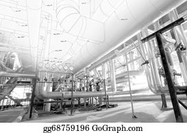 Concrete-Pump - Sketch Of Piping Design Mixed With Industrial Equipment Photos