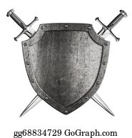 Sword - Aged Metal Shield With Two Crossed Swords Isolated On White