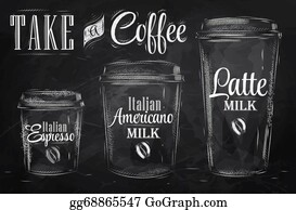 Lid - Set Of Coffee Chalk. Raster.