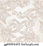 Classic-Victorian-Pattern - Seamless Vector Wallpaper Pattern With Swirl Floral Element