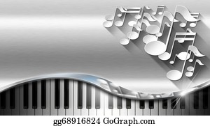 Music-Notes-On-Piano-Keyboard - Music Metal Business Card