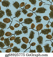 Vintage-Floral-Blue-Frame-Vector - Pattern With Fir Cone And Twig