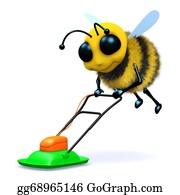 Lawn-Mower - 3d Bee Mows The Lawn.