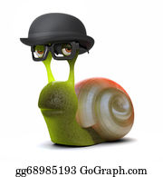 Bowler-Hat - 3d Snail In Bowler Hat