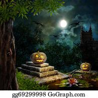 Headstone - Halloween Pumpkins In Yard Of Old House Night In Bright Moonligh