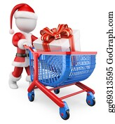 Trolley - 3d White People. Santa Claus Shopping Christmas Gifts