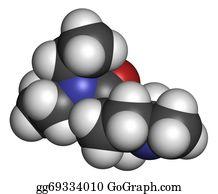 Nematode - Diethylcarbamazine Anthelmintic Drug Molecule.