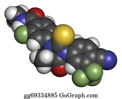 Atoms - Enzalutamide Prostate Cancer Drug Molecule.