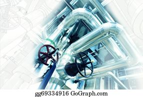 Concrete-Pump - Sketch Of Piping Design Mixed With Industrial Equipment Photo