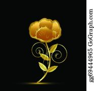 Golden-Lotus-Flower-Logo - Gold Vintage Flower Design