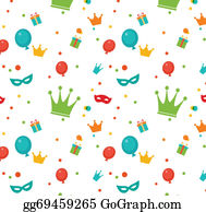 Purim - Jewish Holiday Purim Pattern. Vector Illustration