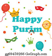 Purim - Jewish Holiday Purim Set. Vector Illustration