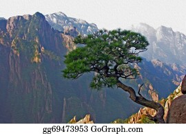 Huangshan - Oil Painting Stylized Photo Of Yellow Mountains, China