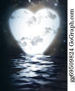 Unusual-Valentine - Heart Monn Reflected  In Water