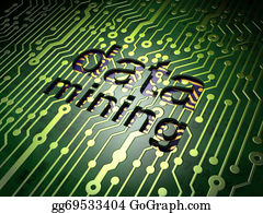 Mining - Information Concept: Data Mining On Circuit Board Background