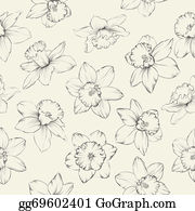 Daffodil - Seamless Pattern With Flowers Narcissus.