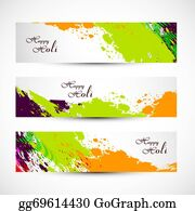 Holi-Festival-Celebration - Banner And Header Set Grunge Holi With Colorful Colours Splash. Illustration Vector