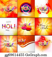 Holi-Festival-Celebration - Beautiful Indian Festival Grunge Colorful Collection Celebration Happy Holi Set Background Vector Illustration