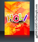 Holi-Festival-Celebration - Beautiful Indian Festival Brochure Colorful Texture Holi Card Template Vector Background
