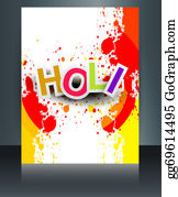 Holi-Festival-Celebration - Happy Holi Brochure Template Reflection Grunge Colorful Card Celebration Vector