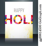 Holi-Festival-Celebration - Indian Festival Brochure Card Colorful Holi Template Illustration Background