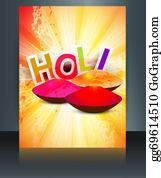 Holi-Festival-Celebration - Beautiful Brochure Card Reflection Gulal Background Of Holi Festival Template Design