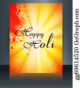 Holi-Festival-Celebration - Beautiful Grunge Colorful Template Of Holi Brochure Festival Vector Background