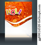 Holi-Festival-Celebration - Happy Holi Brochure Template Reflection Colorful Card Festival Vector