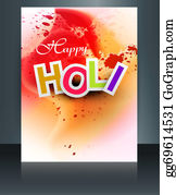 Holi-Festival-Celebration - Indian Festival Happy Holi Brochure Colorful Template Reflection Design Vector