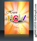 Holi-Festival-Celebration - Beautiful Background Of Indian Festival Colorful Holi Brochure Card Template Vector Illustration