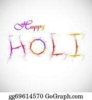 Holi-Festival-Celebration - Holi Splash Color Text With Grunge Colorful Illustratrion Vector
