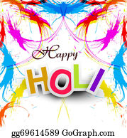 Holi-Festival-Celebration - Beautiful Indian Festival Grunge Colorful Happy Holi Colors Splash.vector Illustration