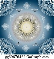 Vintage-Floral-Blue-Frame-Vector - Decorative Seamless Blue Pattern With Round Vintage Frames