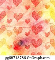 Unusual-Valentine - Watercolor Pattern Of Hearts